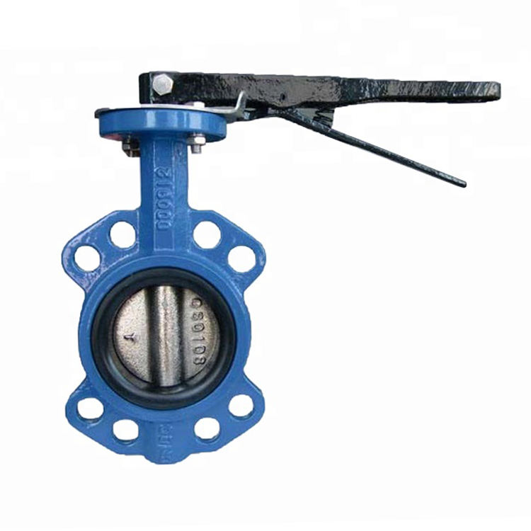 Golden supplier DN100 PN16 EPDM seat handle operated centerline concentric wafer type butterfly valve