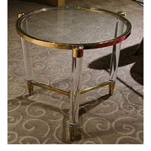STAINLESS STEEL FINISH GOLD WITH ACRYLIC LEGS AND GLASS TOP TABLE