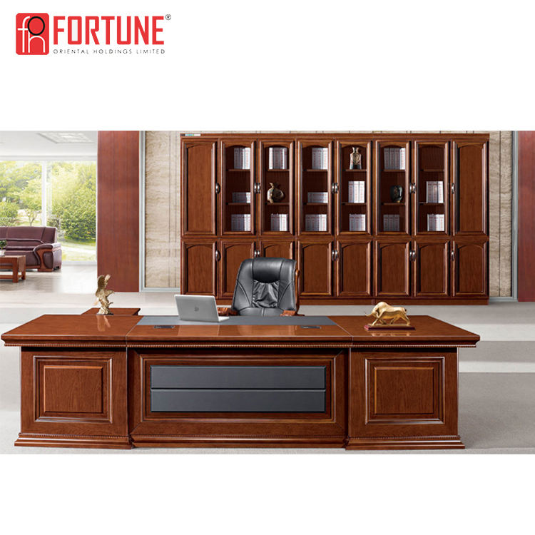 New design Luxury Manager Office long Executive Table L Shape boss Executive Office with File cabinets