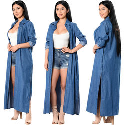 Blue Long Denim Jacket Women Oversized Loose Casual Plus Siz