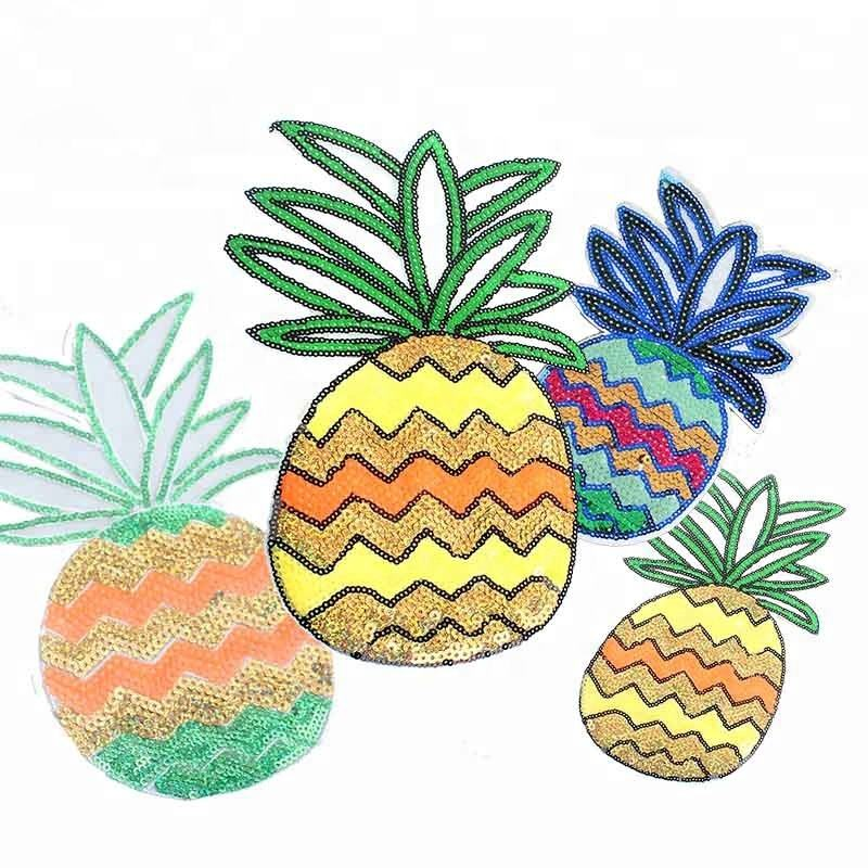 Embroidered Manufacturer Custom Sequins Applique Embroidery Fruit Logo Pineapple Patches for Garment