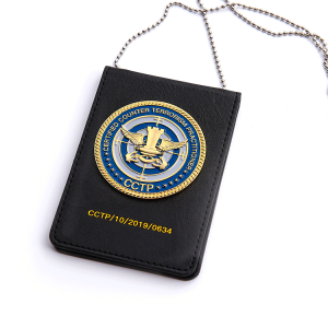 professional custom badge with leather case and chains high quality customize police military security badge