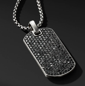 Fashion Mens Crystal DogTag Black Dog Tag Charm Pendant Men Stainless Steel Necklace For Mens