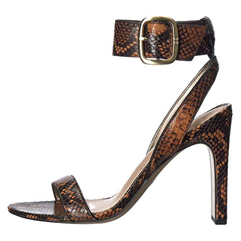 Women's Fashion Snake Faux Suede New Arrival Ladies Party Dress Sexy Wide Heel Sandals