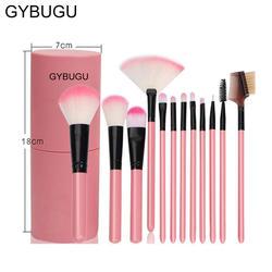 GYBUGU 12 pcs Makeup Brush Set tools Make up Toiletry Kit Make Up Brush Set  with Premium Wooden Handles & Soft Synthetic Hairs(