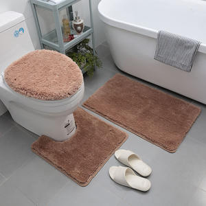 Source factory luxury microfibre soft washable 3 pcs bathroom rugs set , non slip shaggy bath mats set 3 pieces