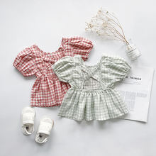 Fashion Backless Summer Kids Short Sleeved Blouse Pullover Plaid Toddler Girl Shirts
