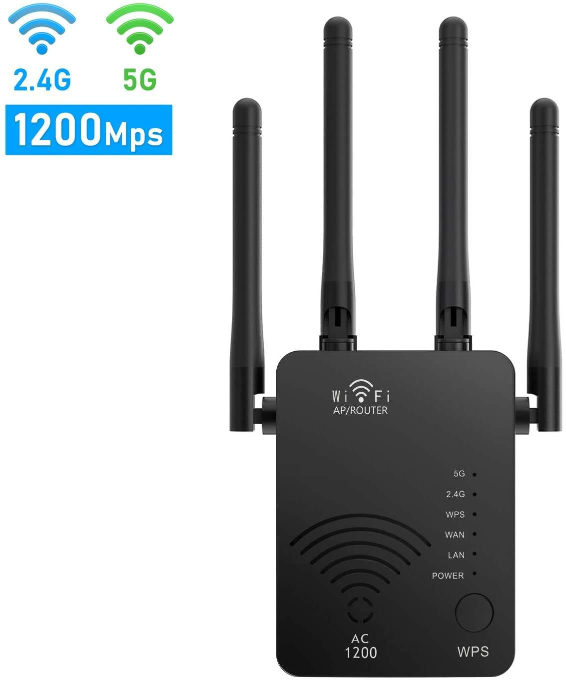 Amazon Trending Product Wireless Internet 2.4G & 5G Dual Band WiFi 1200Mbps Signal Booster WiFi Range Extender