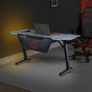 Home Office Gaming Desk Pro- Z Shaped PC Computer Table for Gamer Pro, Gaming Desks Workstation with RGB LED Lights