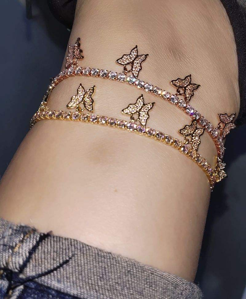 Custom length 18k gold plated butterfly anklets foot jewelry