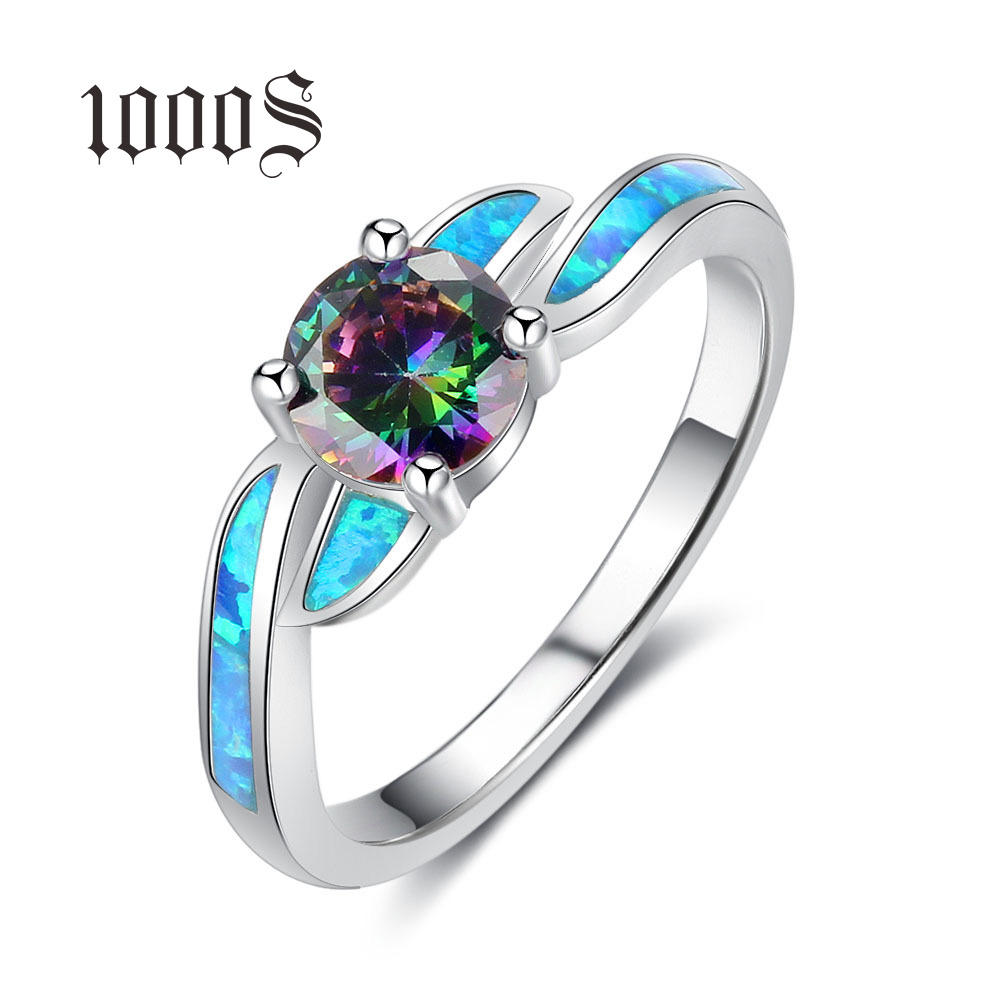 Wholesale 925 Sterling Silver Multi Australia Opal Rings Unique Design Multi Color Wedding Ring For Women Birthstone Birthday