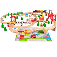 2021 Most Popular Kids Educational Toy Railway Wooden Train Track Set For Children