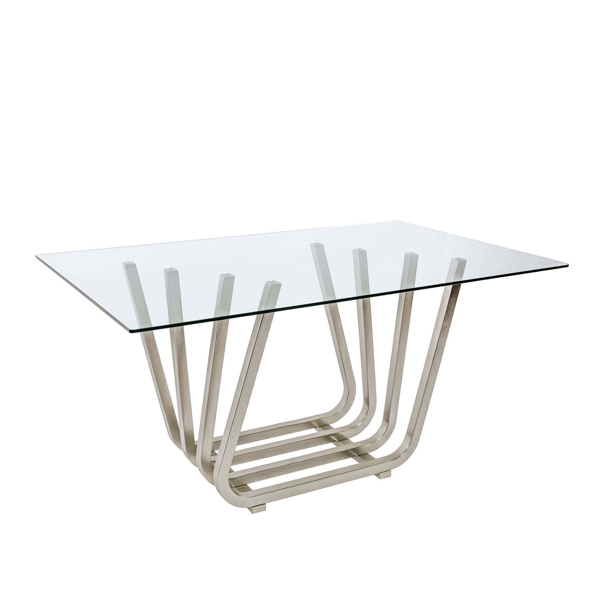 Modern New Design Home Dining Room Furniture Big Tempered Glass Top Stainless Steel Base Rectangle Dining Tables And Chairs Sets