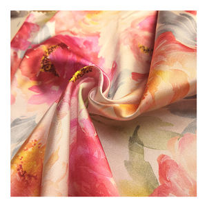150CM Floral Satin Print Fabric Plain Woven Satin Cloth Cut Pieces for Scarves