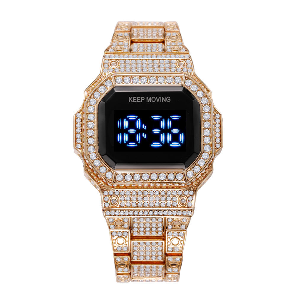 Hot Sale Luxury Brand Reloj Hombre Fashion Man Watch Bling Steel Belt Digital LED Gold Wrist Diamond Watch