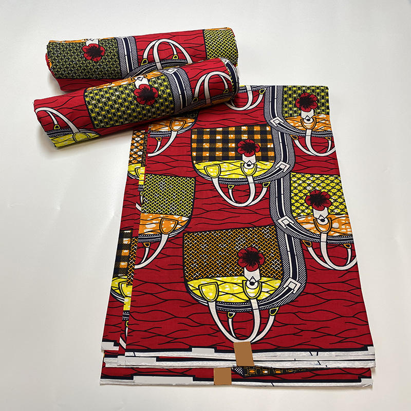 100% cotton african wax print fabric cloth 6 yards soft african wax fabric