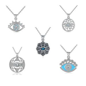 Factory 925 Silver Jewelry Crystal Pendant Turkish Evil Blue Eye Necklace with Evil Eyes Charms Jewelry