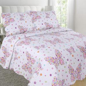 لحاف سرير بناتي الأطفال مصنوع من الألياف الدقيقة مطبوع عليه فراشة فاخرة من MOHAP