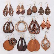 Cheap New Custom Design african natural wood earrings for women