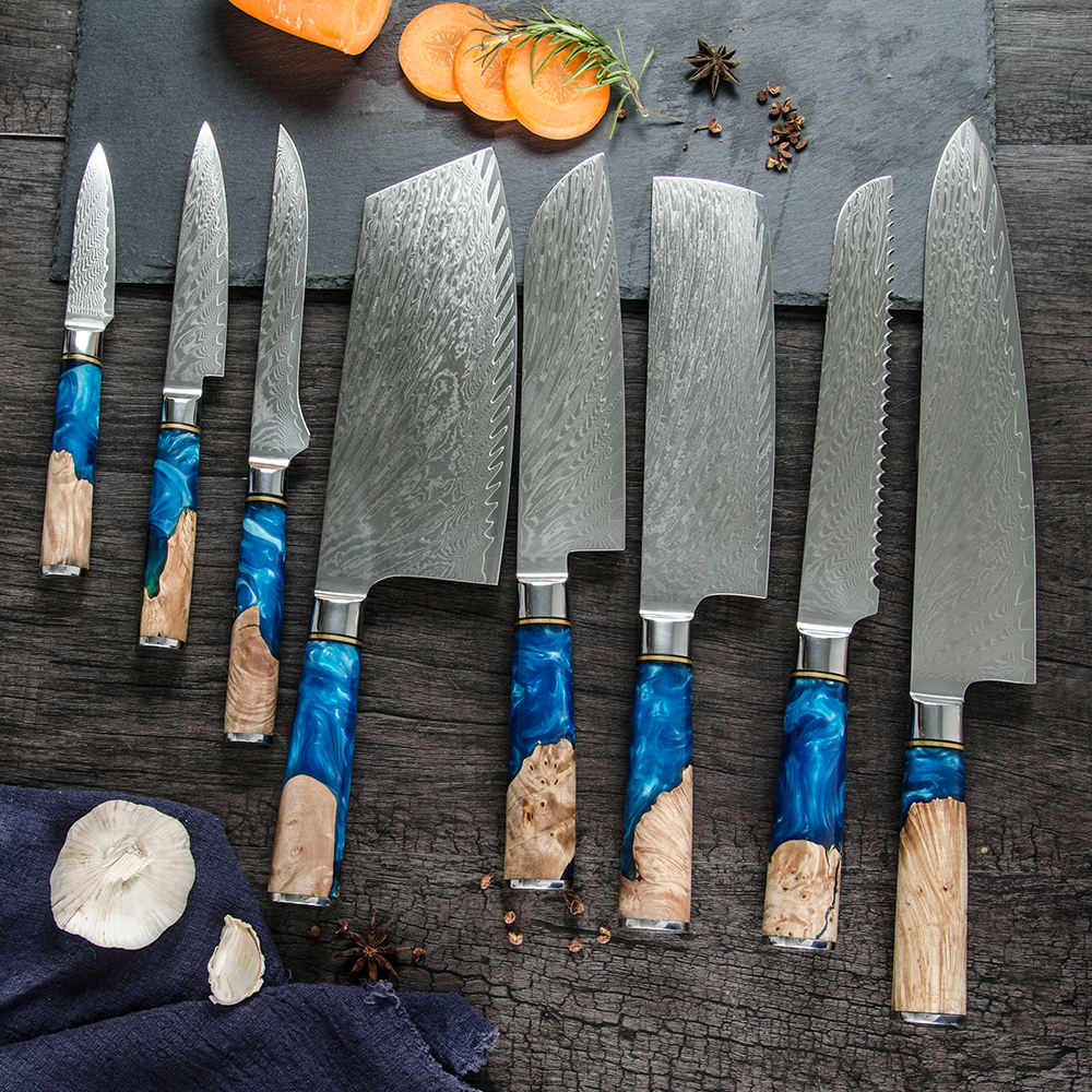 Professional 8PCS Knife Set High Quality 67 Layers Damascus Stainless Steel Kitchen Knife Set