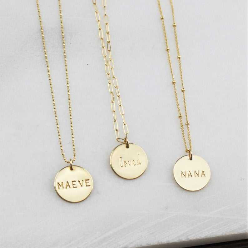 Top Quality Custom Personalized Necklace Stainless Steel Jewelry Disc Engrave any message