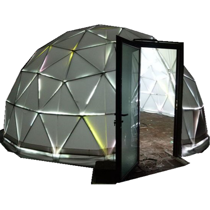 Outdoor camping Half Sphere Tent Canvas Geodesic Dome Tent With hard Glass Door