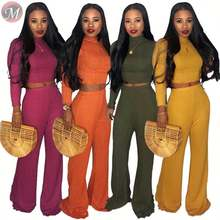 9090901 best seller solid ribbed wide leg cheap clothes women tops and trousers two pieces jumpsuit