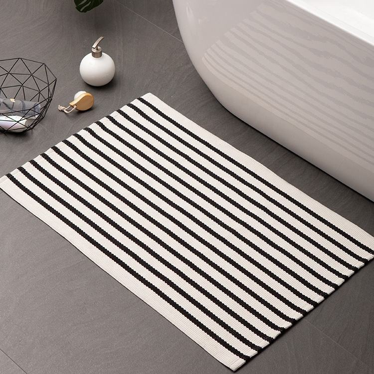 Cotton woven washable runner rug and carpet black and white indoor outdoor striped farmhouse front door mats