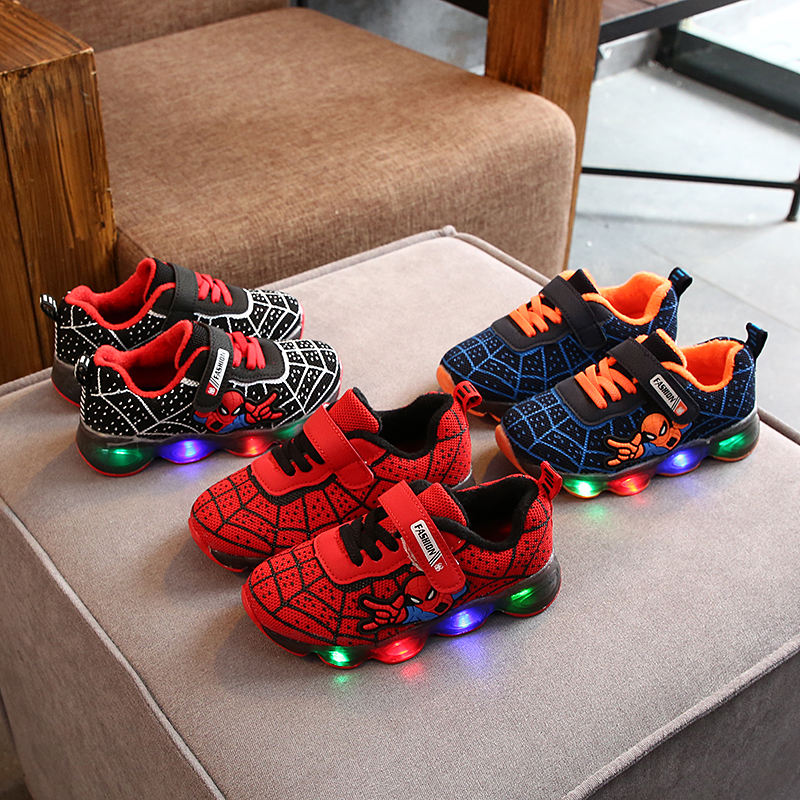2020 Kids Shoes Led For Light Shoes Kids Children Spider Shoes