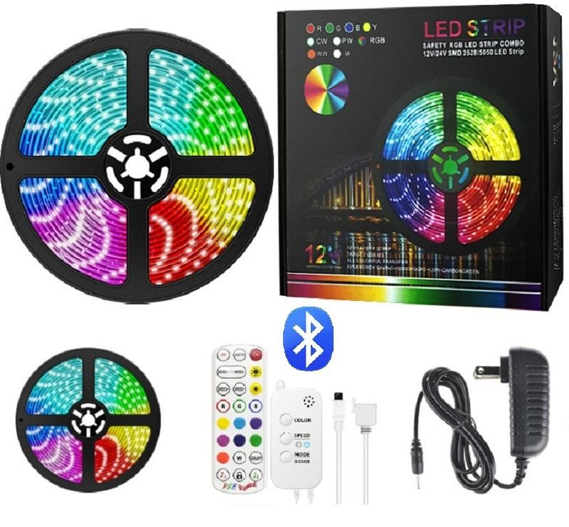 Colorful 12w 24v 5050 led RGB strip battery powered, 5m led strip ip65 with remote