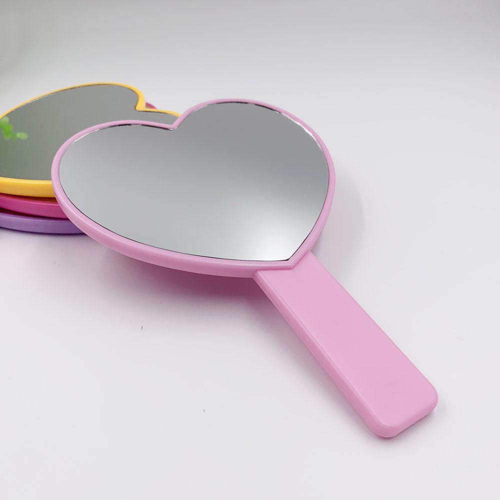Stock Color Plastic One Side Heart Shape Hand Mirror Personalized Custom LOGO UV Printing Cosmetic Makeup Handheld Mirror