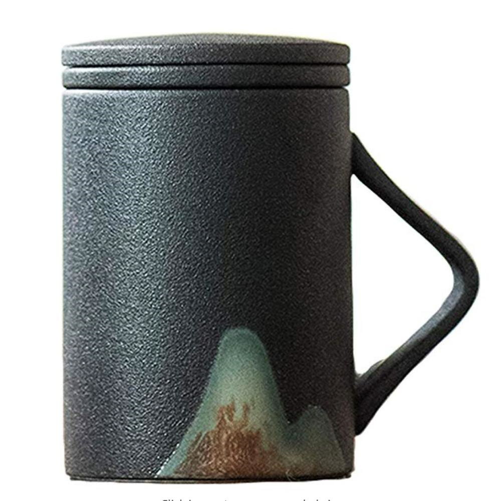 Stoneware Clay Tea Cups Mug with Infuser and Lid
