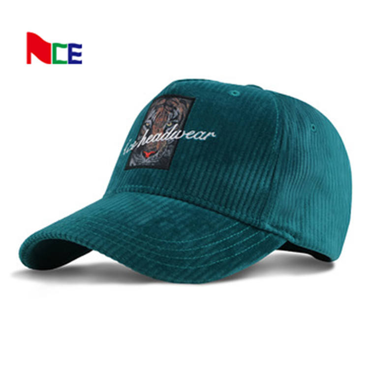 Stock Flat embroidered patch logo Sports cap Corduroy Hats cotton american fitted corduroy baseball cap manufacturer guangzhou