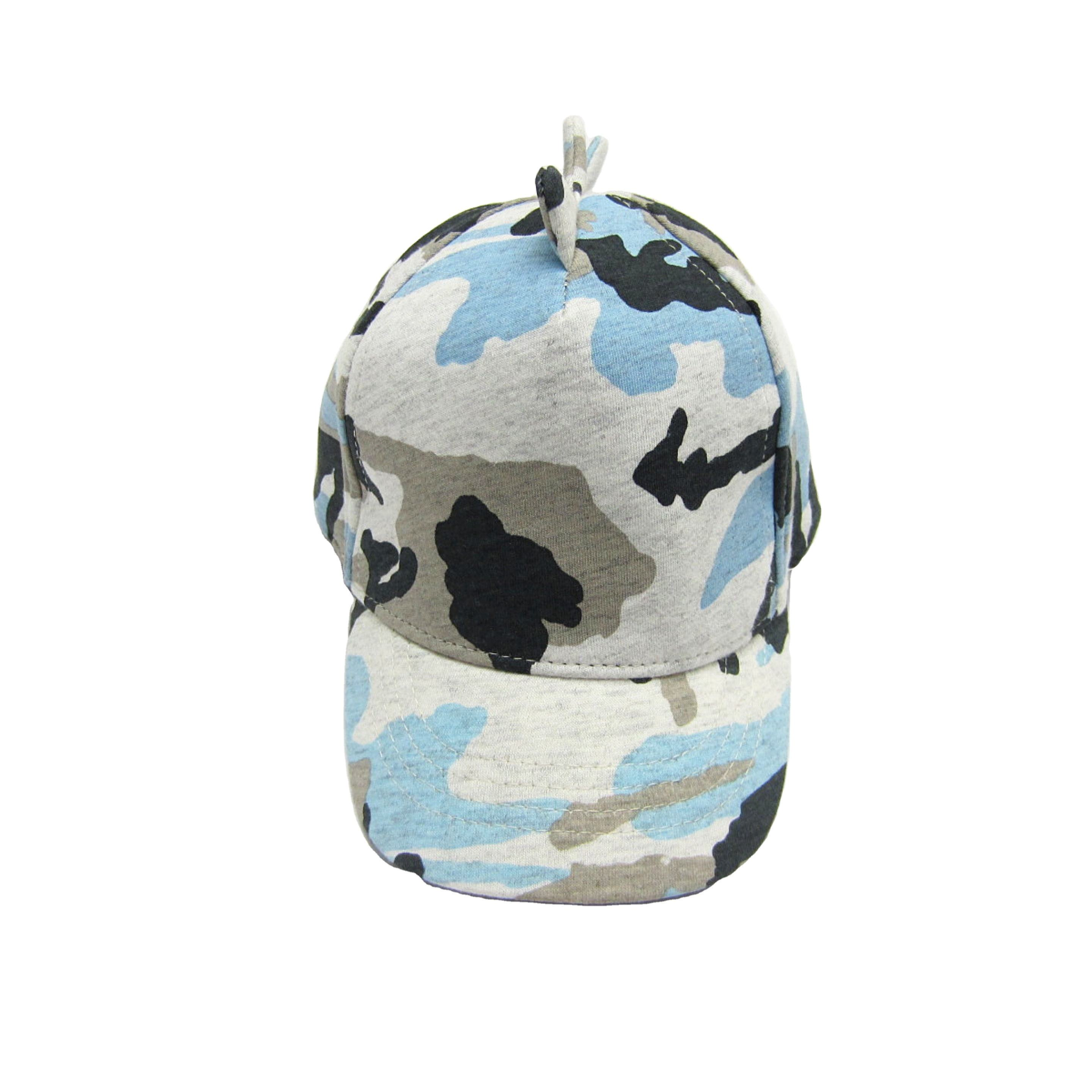 Boys New 100% Cotton Jersey Printed Camo Baseball caps with 3D angles and full linings