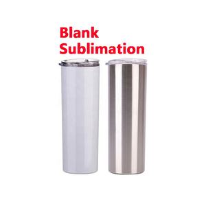 Blank sublimation skinny cups double wall vacuum insulated travel coffee mugs 20oz stainless steel sublimation tumbler blank