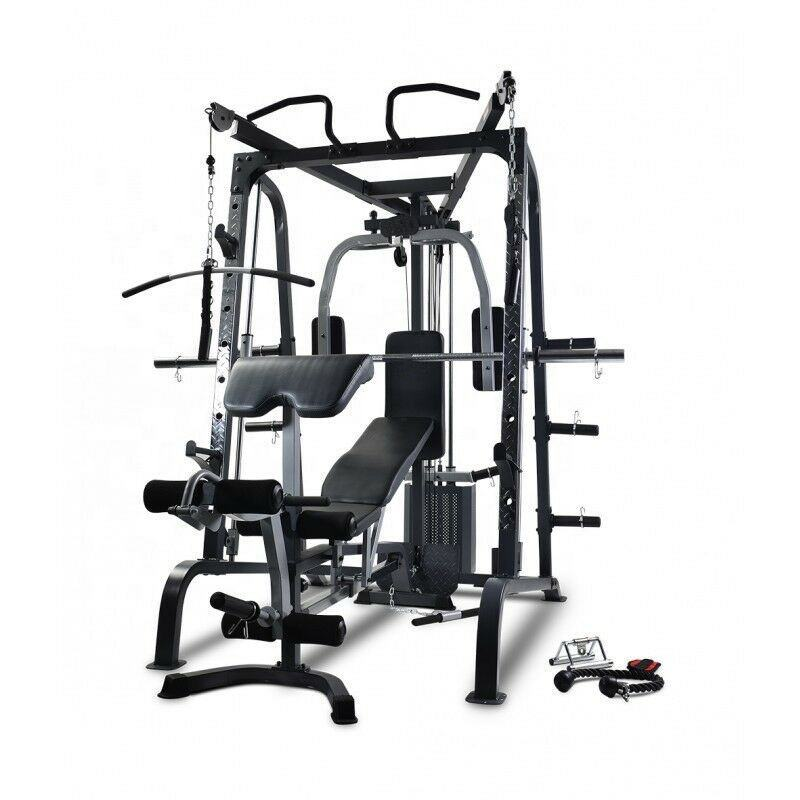 Doublewin Commercial Gym Multi Function Smith Machine Adjustable FID Bench with Leg Extension and Preacher Curl Attachment