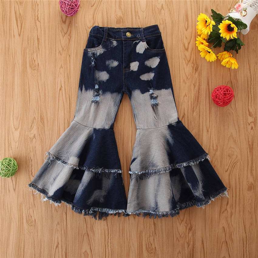 2020 Fashion Kid Denim Flare Pants Children Girl Bell-bottomed Washed Trousers Wide Leg Jeans 1-6T Kids Clothing