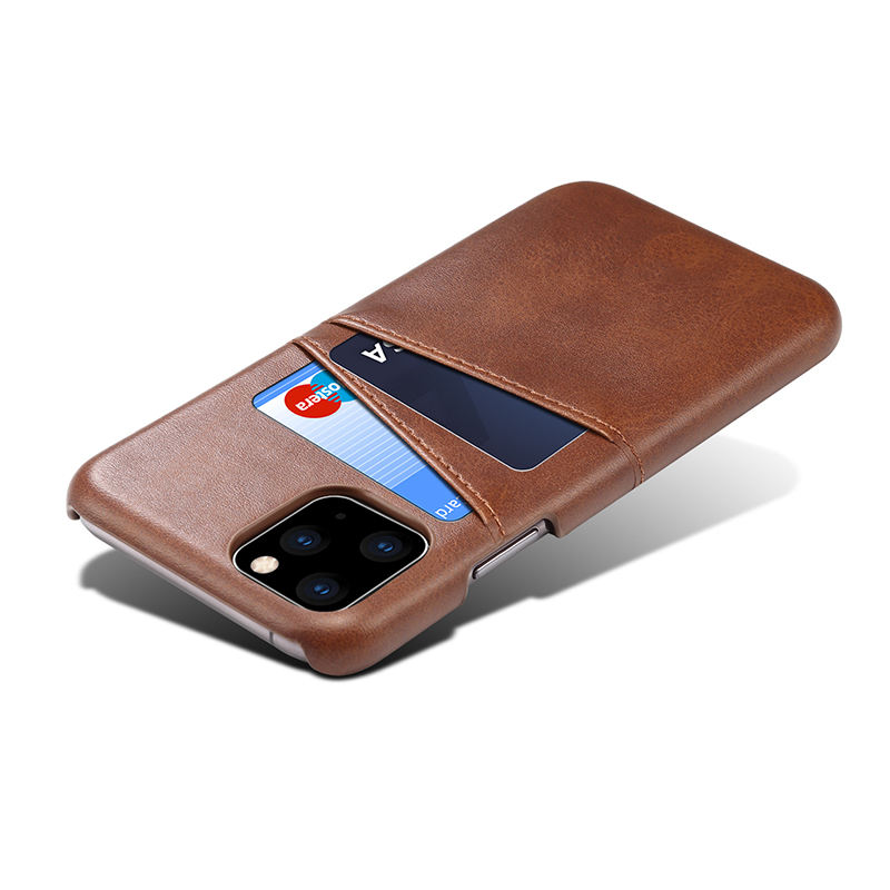 Voor Iphone 11 Pro Slim Pu Leather Cover Wallet Case Met 2 Kaarten Slots Houder Voor Iphone 12 Case kaarthouder