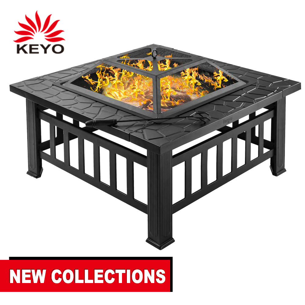 32'' Fire Pit Table Outdoor, Multifunctional Patio Backyard Garden Fireplace Heater/BBQ/Ice Pit BBQ Table