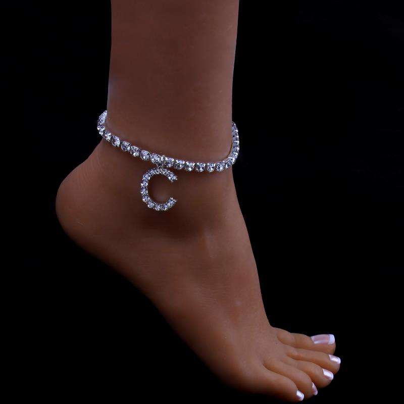 HOVANCI Bling Bling Iced Out Crystal Rhinestone Alphabet Letters Anklet Full Diamond Tennis Chain C Anklet