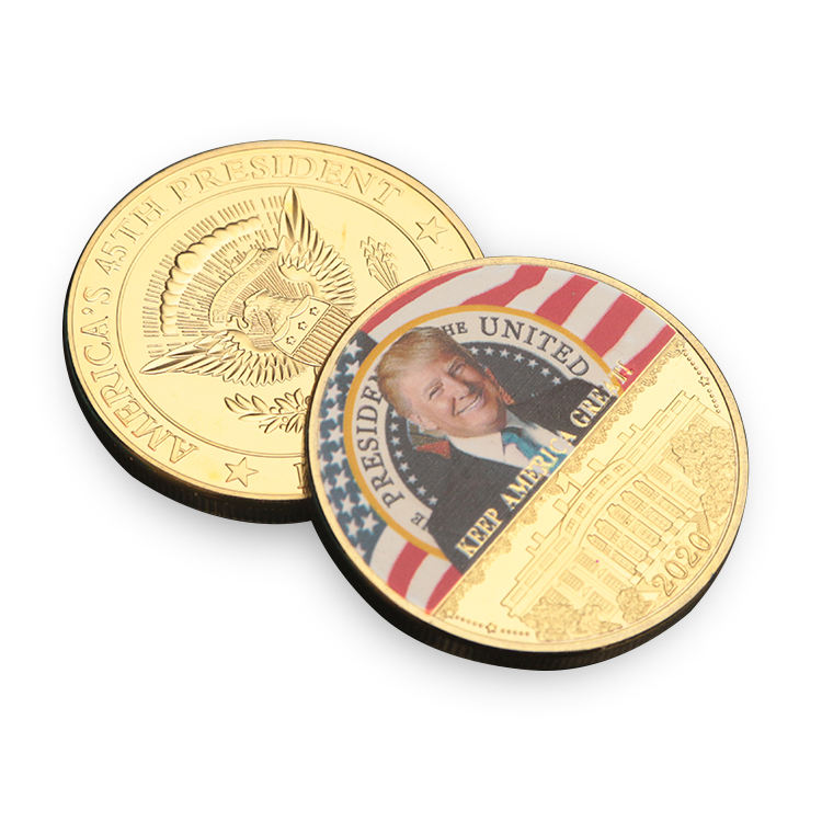 Custom 45th President Souvenir Color Collection Metal Commemorative Donald Trump Silver Challenge Gold 2020 Coins