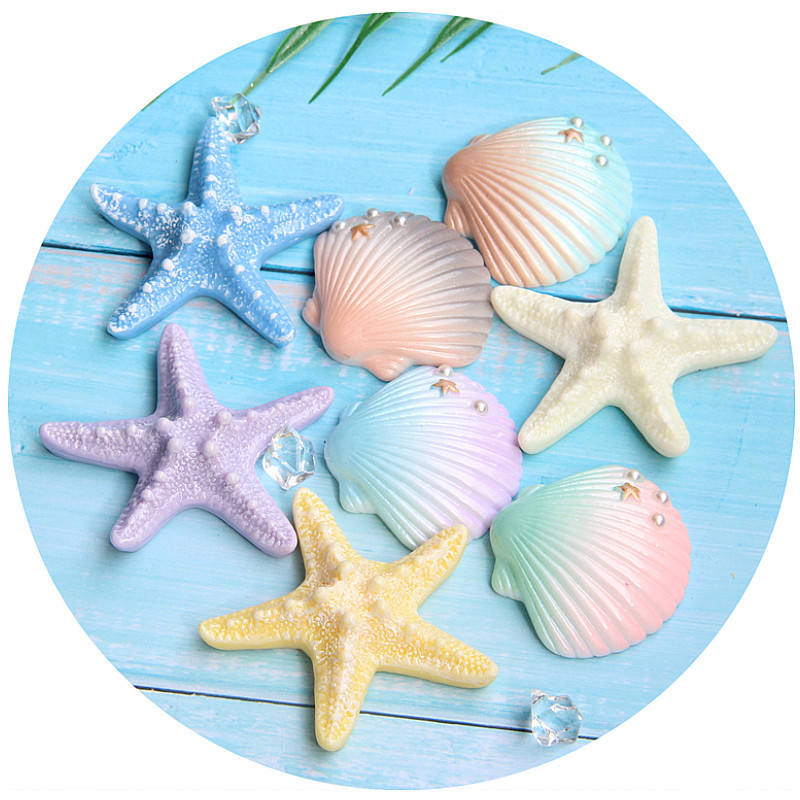 Free Shipping Big Artificial Starfish Shell Cute Sea Animals Flatback Decorative Resin Cabochons Crafts Resin Embellishments