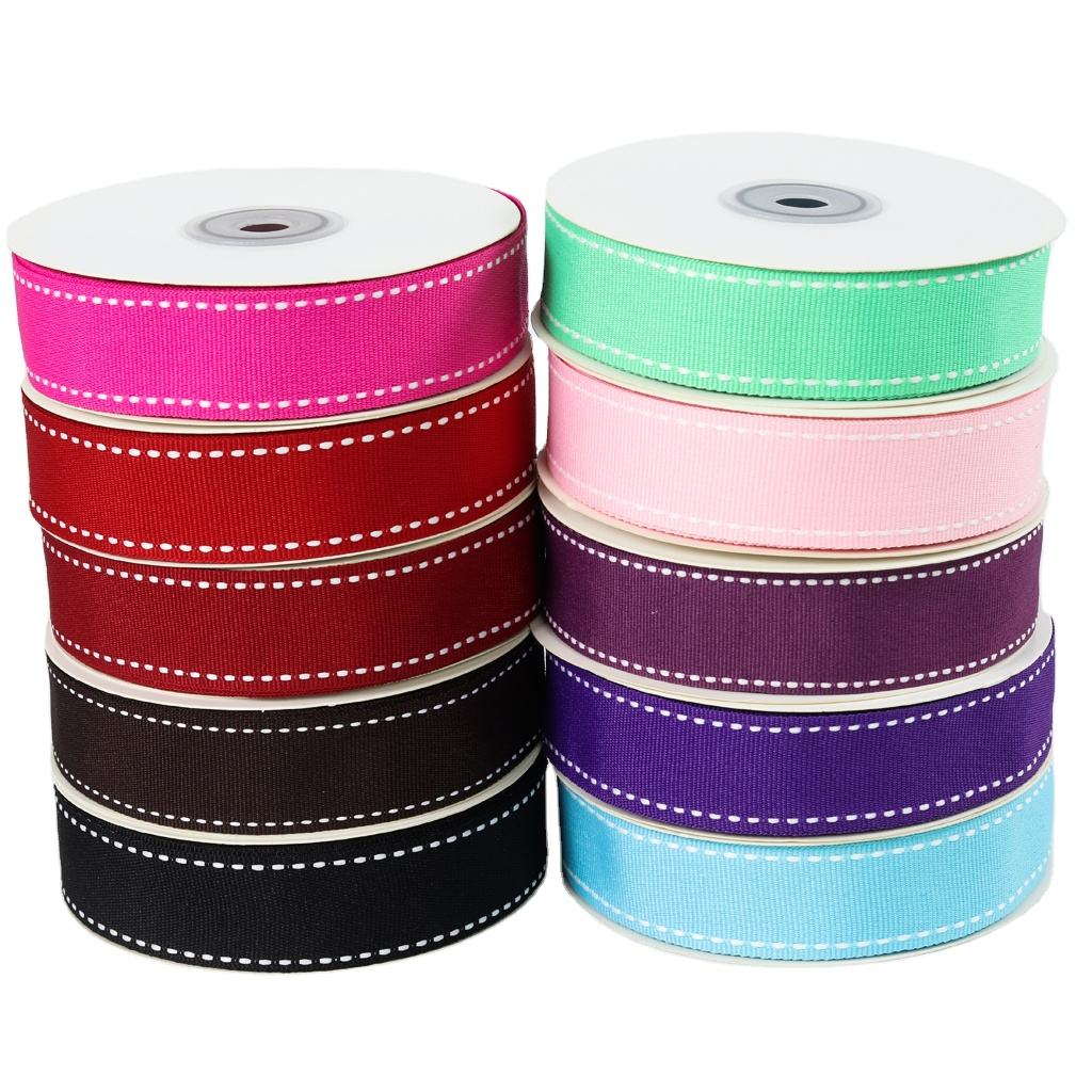 Wholesale 25mm saddle stitch grosgrain ribbon for gift package