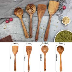 Organic Teak Wood Kitchen Utensil With Spatula Wooden Spoons for Cooking