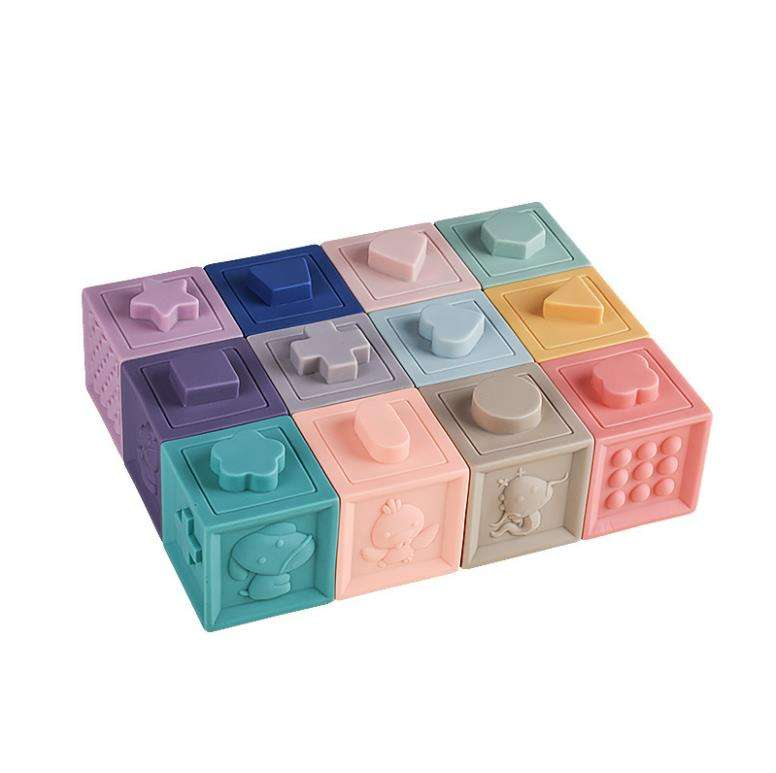 Educational Toys 12PCS Baby Stacking Cube Squeeze Silicone Soft Building Blocks for Children