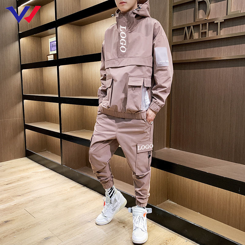 OEM Wholesale custom mens two piece embroidery logo track suit COLOR BLOCK 100% polyester jogging suit