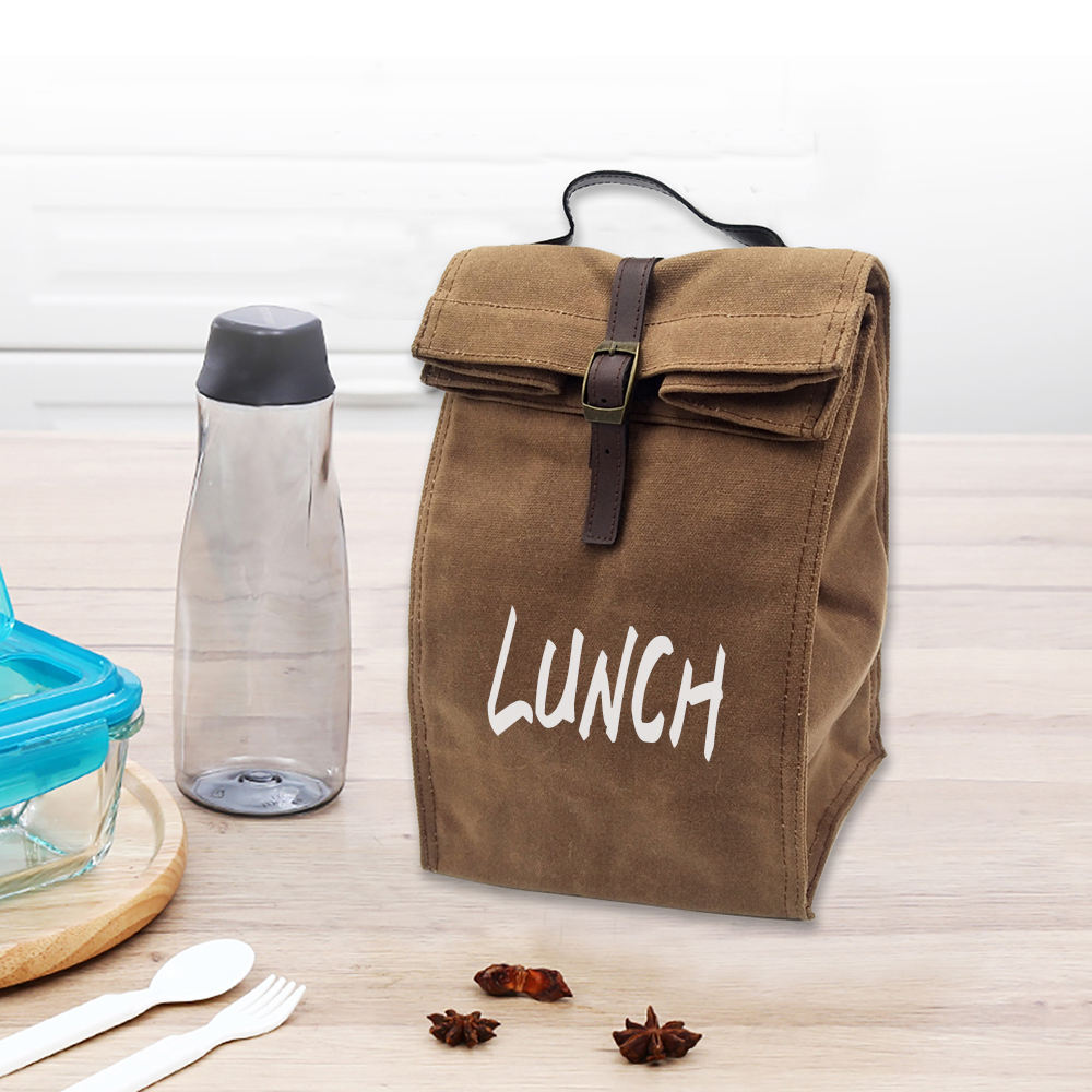portable eco friendly waterproof reusable waxed canvas cooler lunch bag for picnic