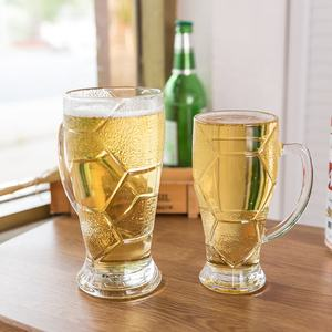 Soccer shaped factory direct Customised High Quality delicate ribbed glass Beer cup for Parties glassware