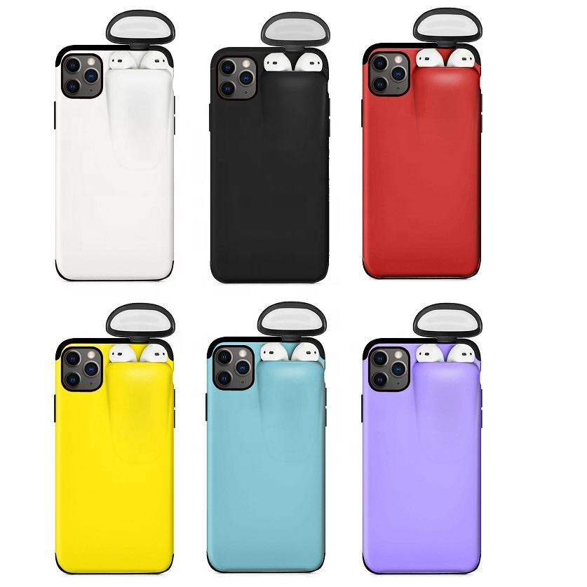 2 in 1 Silicone Plastic Cover Coque For iPhone Airpods Phone Case