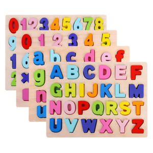 Educational big wooden children doll house alphabet jigsaw kids toys puzzle